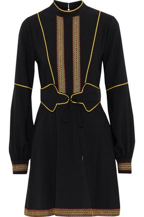 ANNA SUI Embroidered crepe mini dress