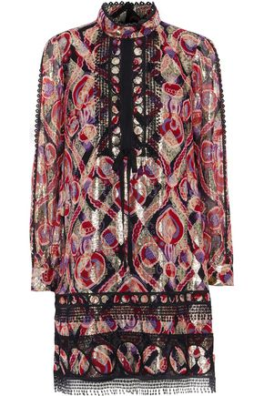 ANNA SUI Guipure lace-trimmed metallic printed silk-blend mini dress