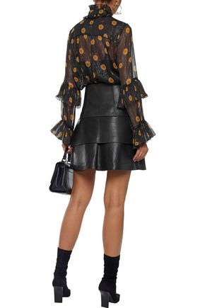 ANNA SUI Ruffled metallic floral-print silk-blend georgette blouse
