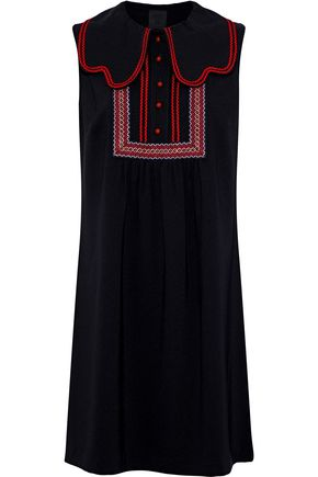 ANNA SUI Layered embroidered crepe mini dress