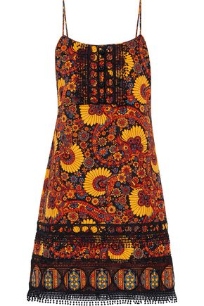ANNA SUI Guipure lace-trimmed printed cotton-jacquard mini dress