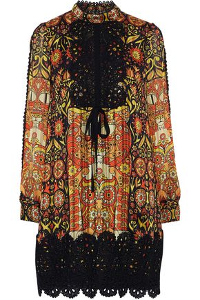 ANNA SUI Guipure lace-trimmed printed jacquard mini dress