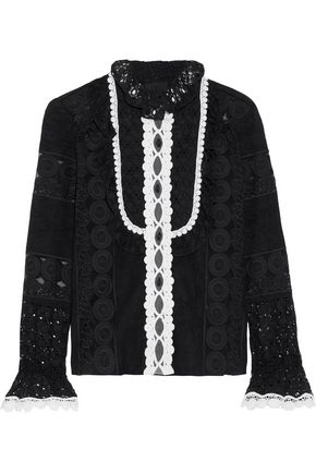 ANNA SUI Paneled embroidered organza and cotton-blend lace blouse