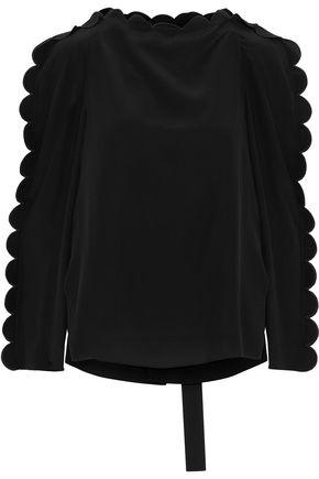 FENDI Scalloped silk crepe de chine blouse