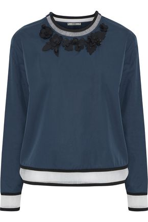 FENDI Floral-appliquéd scalloped cotton-poplin top