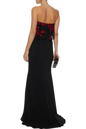BADGLEY MISCHKA Strapless embroidered tulle-paneled cady gown