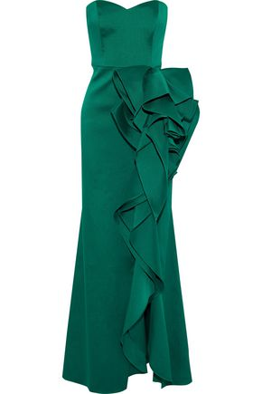 Woman Strapless Ruffled Duchesse Satin-Twill Gown Emerald