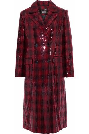 BADGLEY MISCHKA Double-breasted sequined checked felt coat
