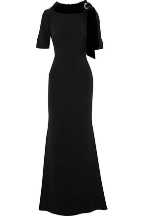 BADGLEY MISCHKA Crystal-embellished velvet-trimmed crepe gown