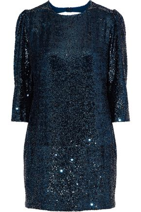FLEUR DU MAL Open-back sequined gauze mini dress