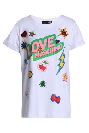 LOVE MOSCHINO Printed stretch-jersey T-shirt