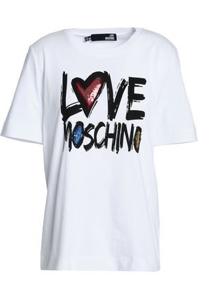 LOVE MOSCHINO Embellished printed cotton-jersey T-shirt