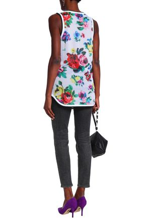 LOVE MOSCHINO Floral-print stretch-mesh tank