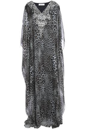 BADGLEY MISCHKA Embellished leopard-print silk-voile gown