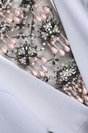 BADGLEY MISCHKA Embellished belted crepe gown