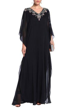 BADGLEY MISCHKA Embellished silk-blend voile gown