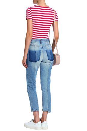 LOVE MOSCHINO Appliquéd striped slub jersey T-shirt