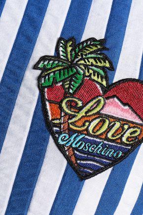 LOVE MOSCHINO Appliquéd striped stretch-jersey mini dress
