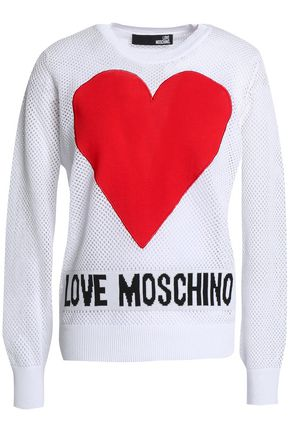 LOVE MOSCHINO Pointelle-knit intarsia cotton top