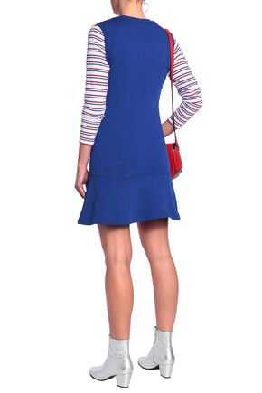 LOVE MOSCHINO Appliquéd French cotton-blend terry mini dress