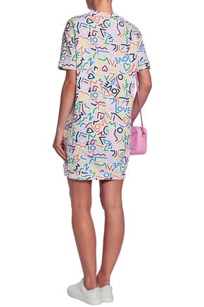 LOVE MOSCHINO Printed French cotton-terry mini dress