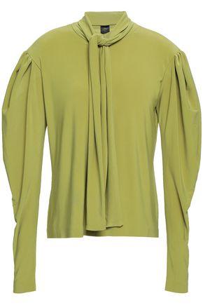 NORMA KAMALI Pussy-bow stretch-jersey blouse