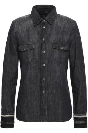 7 FOR ALL MANKIND Embroider-trimmed denim shirt