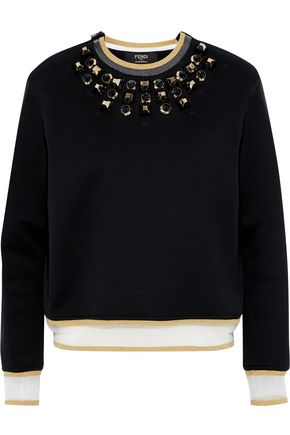 FENDI Metallic-trimmed studded cotton-blend sweatshirt