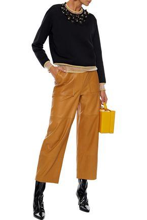 FENDI Metallic-trimmed studded cotton-blend sweatshirt