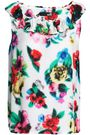 LOVE MOSCHINO Ruffled printed crepe top