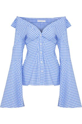 CAROLINE CONSTAS Persephone off-the-shoulder gingham cotton-poplin shirt