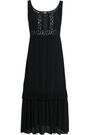 LOVE MOSCHINO Macramé-trimmed woven midi dress