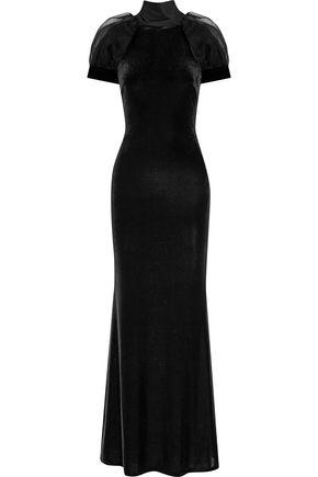 BADGLEY MISCHKA Tie-back organza-paneled velvet gown