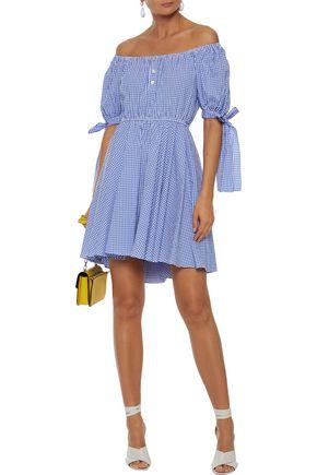 CAROLINE CONSTAS Bardot off-the-shoulder gingham cotton-seersucker mini dress