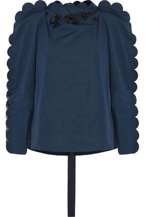 FENDI Floral-appliquéd scalloped cotton-poplin blouse