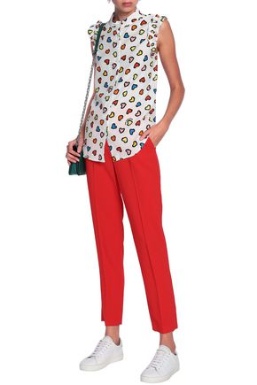 LOVE MOSCHINO Ruffle-trimmed printed woven top