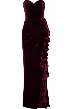 Strapless Gathered Ruffled Velvet Gown by Badgley Mischka