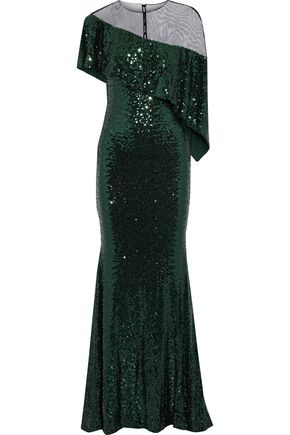 BADGLEY MISCHKA Asymmetric layered sequined tulle gown