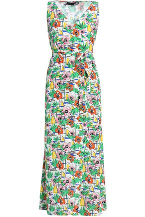 LOVE MOSCHINO Wrap-effect printed crepe maxi dress