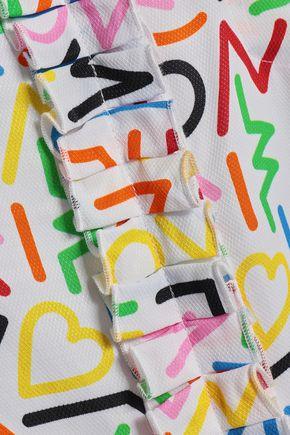 LOVE MOSCHINO Ruffle-trimmed printed jacquard shirt