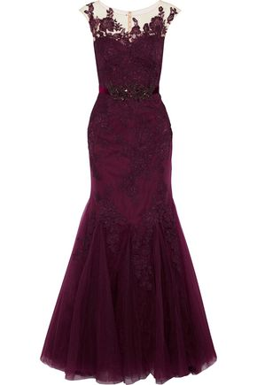 BADGLEY MISCHKA Embellished tulle and corded lace gown