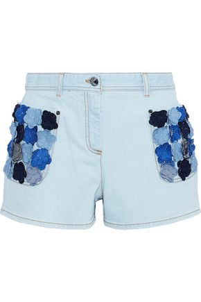 FENDI Floral-appliquéd denim shorts