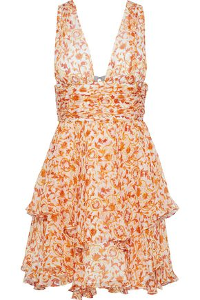 CAROLINE CONSTAS Paros tiered floral-print silk-chiffon mini dress
