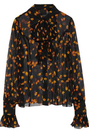 ANNA SUI Printed silk-georgette top