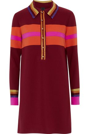 ANNA SUI Metallic-trimmed striped crepe mini shirt dress