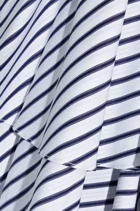 CAROLINE CONSTAS Appolonia off-the-shoulder striped cotton-poplin mini dress