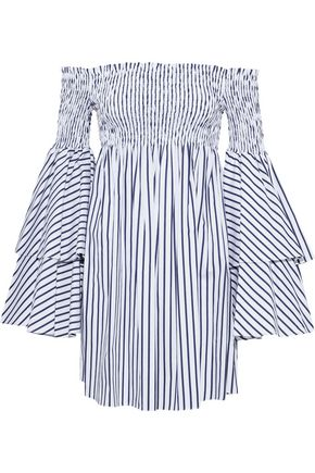 CAROLINE CONSTAS Appolonia off-the-shoulder striped cotton-poplin mini dress