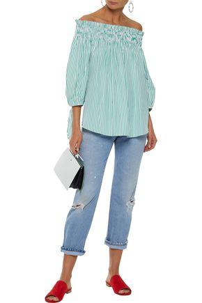 912210f2536 CAROLINE CONSTAS Lou off-the-shoulder striped cotton-poplin top