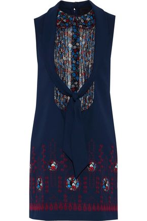 ANNA SUI Pintucked floral-print georgette-paneled appliquéd crepe mini dress