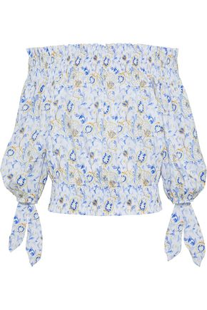 CAROLINE CONSTAS Lou off-the-shoulder printed cotton-blend top